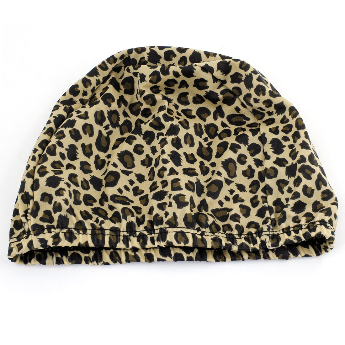 Ladies Men Leopard Prints Black Khaki Elastic Dome Shaped Swimming Hat Cap
