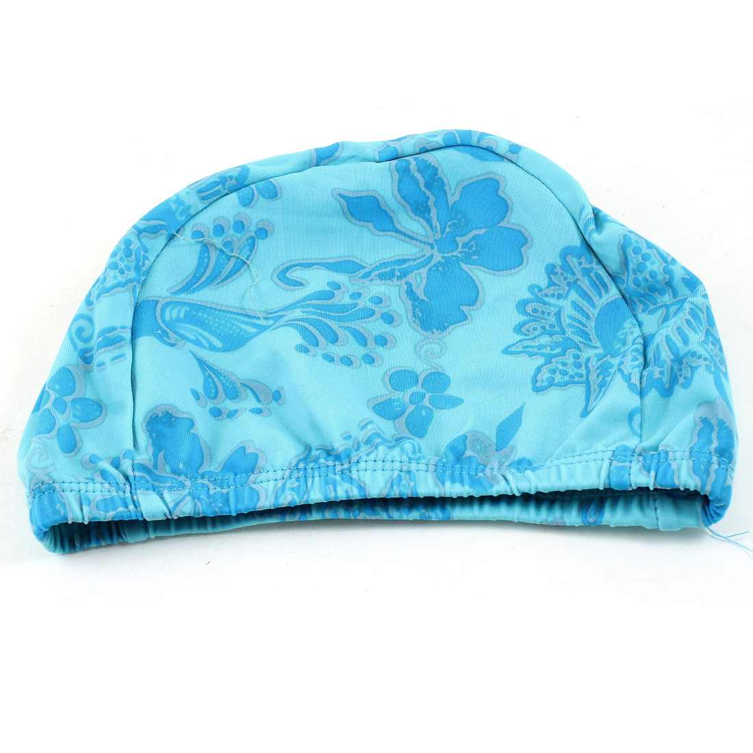 Dome Design Blue Flowers Print Elastic Swimming Cap Hat for Women Men