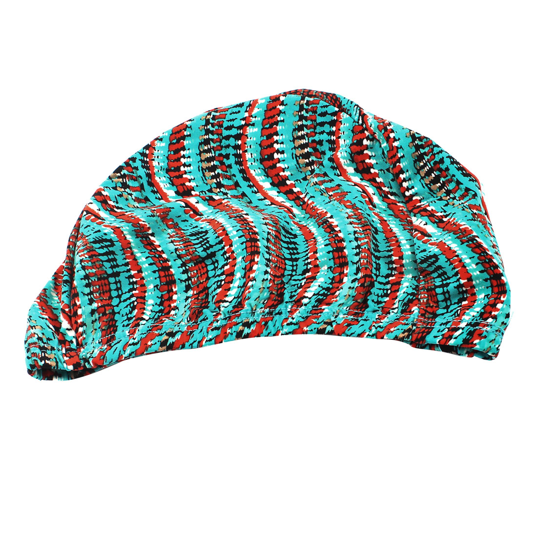 Teal Orange Stretchy Polyester Surfing Swimming Cap Hat for Woman Man