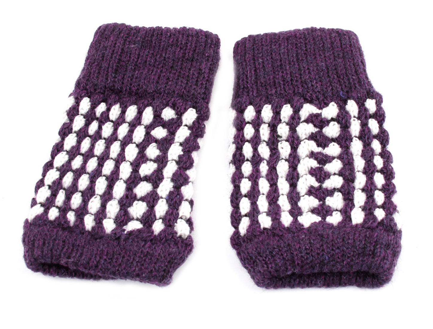 Pair Dark Purple White Knit Pattern Stretchy Fingerless Gloves for Lady