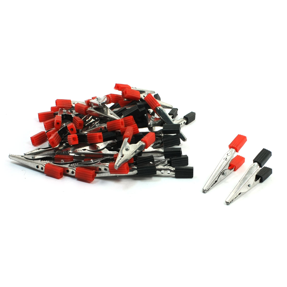40Pcs Black Red Grip Electric Test Crocodile Alligator Clips Clamps 50mm