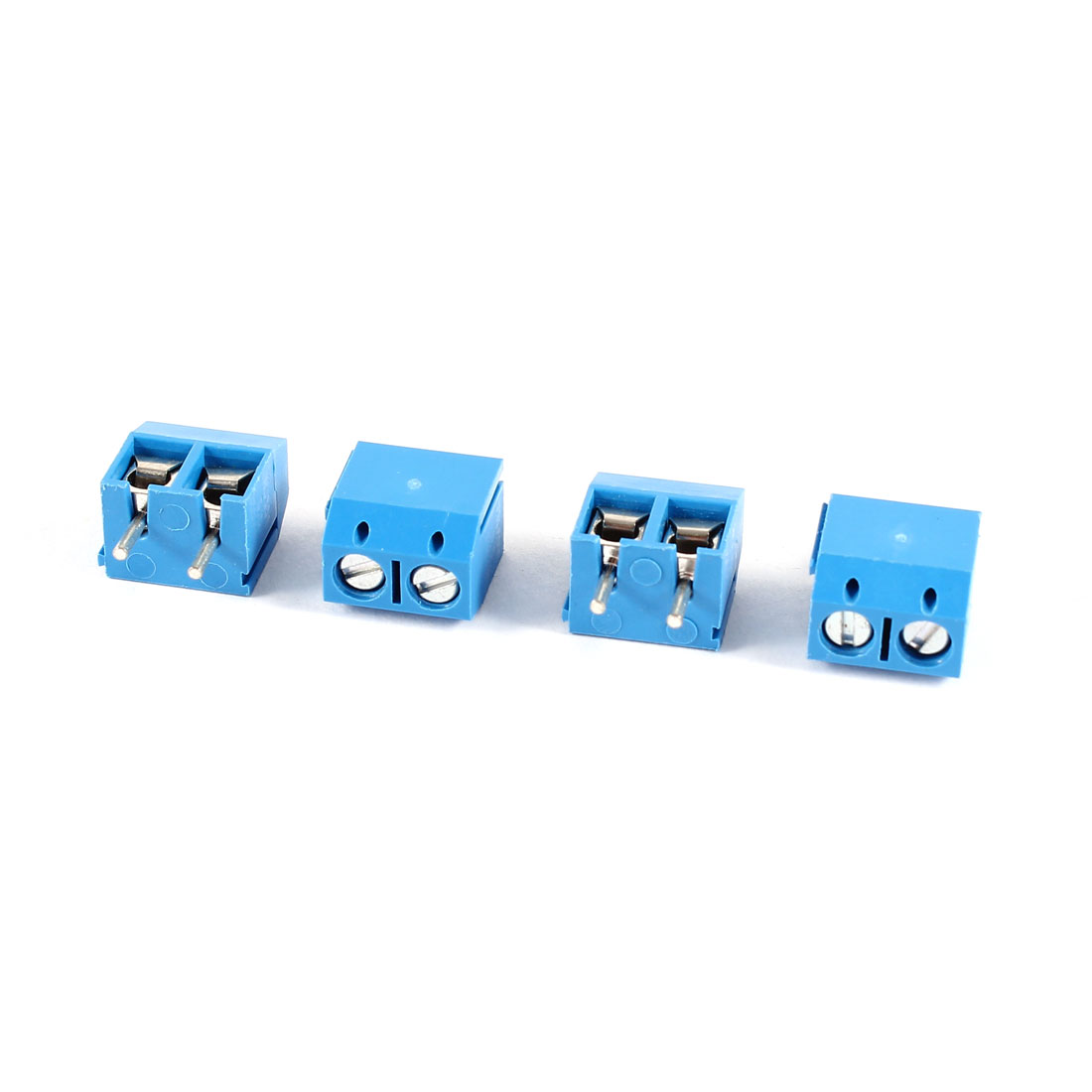 4 Pcs 2 Position Plastic Shell PCB Screw Terminal Block Blue 300V 16A