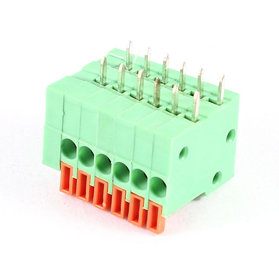 6 Pin Plastic Shell PCB Screwless Terminal Block Green 6P