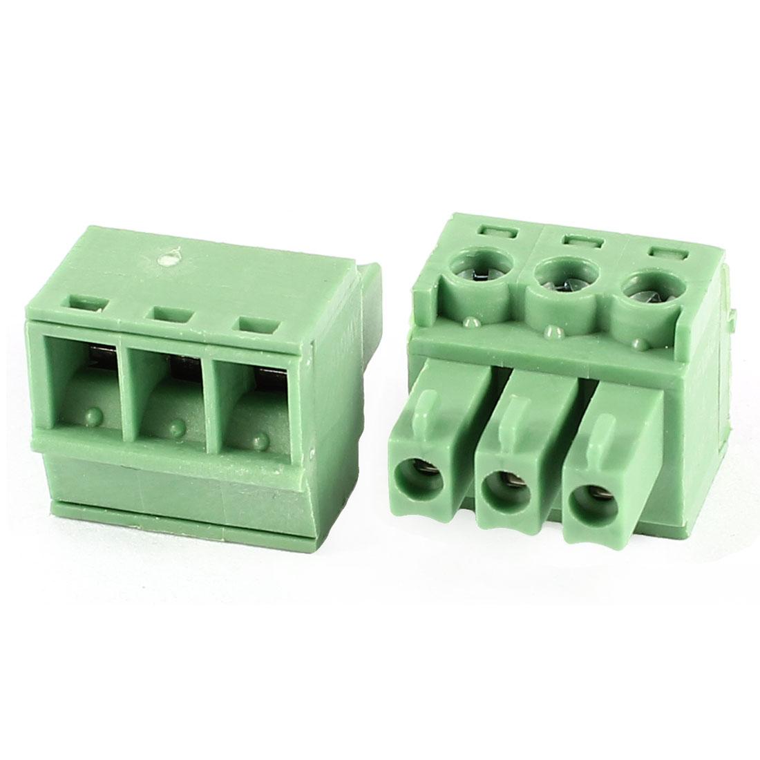 """2 Pcs 16-26AWG 3 Pin 0.15"""" Spacing Pluggable PCB Mount Screw Terminal Block"""