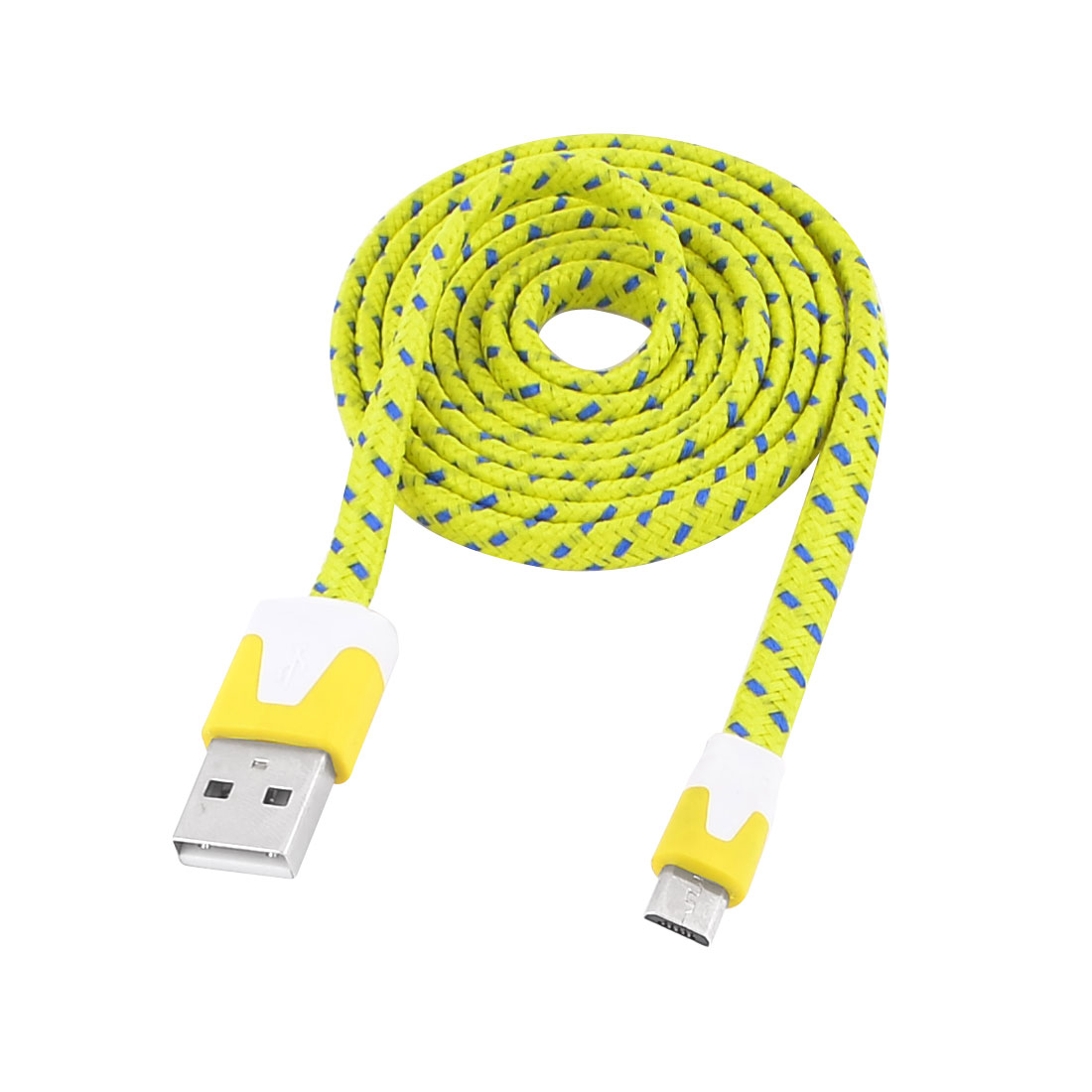 Yellow Nylon Wrapped USB 2.0 Type A Male to Micro B Male Adapter Cable Cord