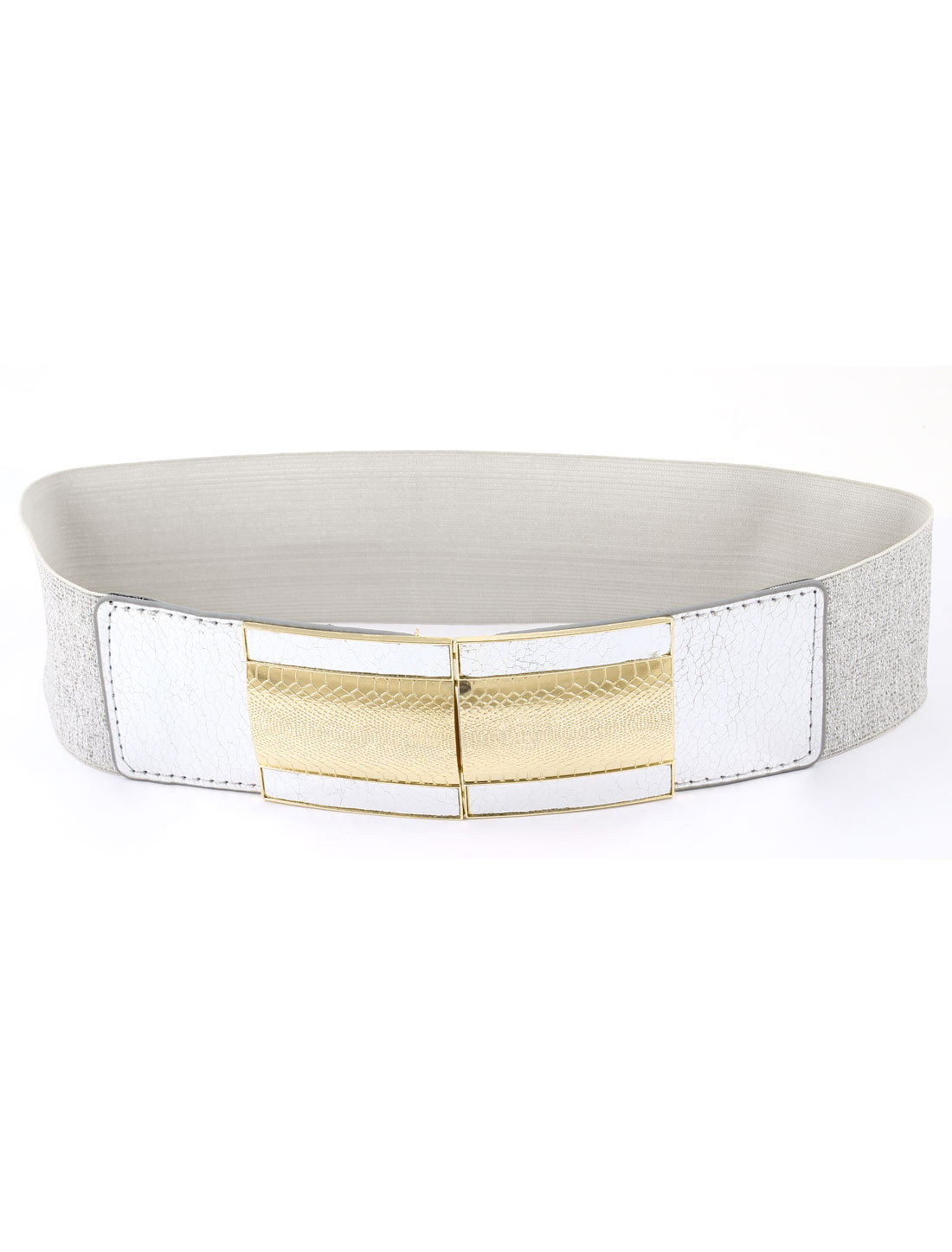 Gold Tone Metal Snake Pattern Buckle Waist Belt Silver Tone for Lady