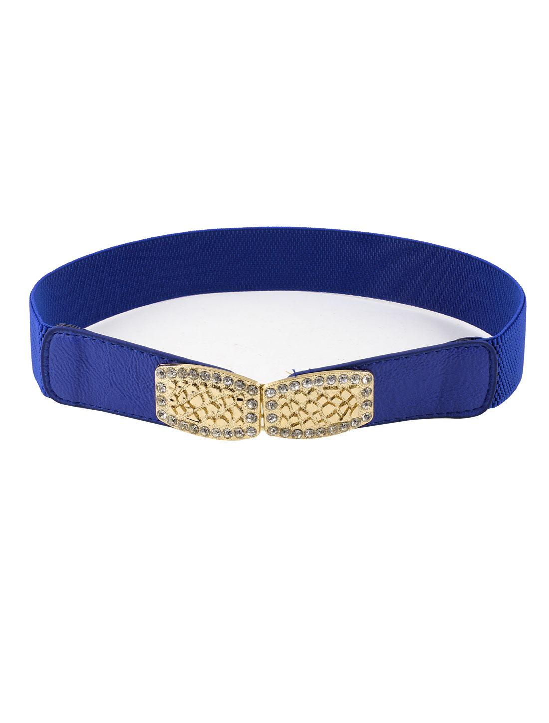 Lady Rhinestone Adorn Elastic Interlocking Buckle Cinch Belt Blue