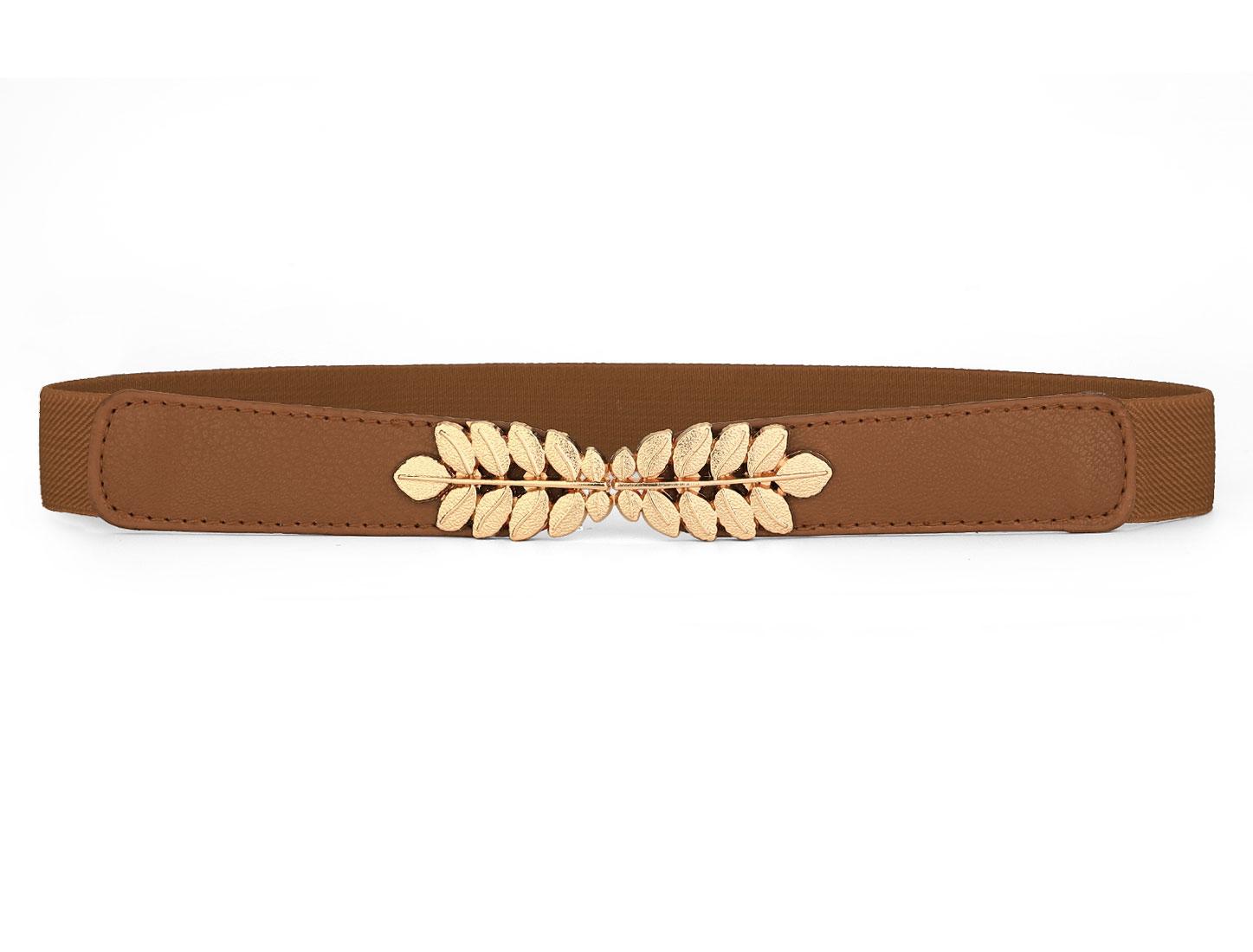 Lady Brown Textured Elastic Faux Leather Interlocking Buckle Cinch Belt