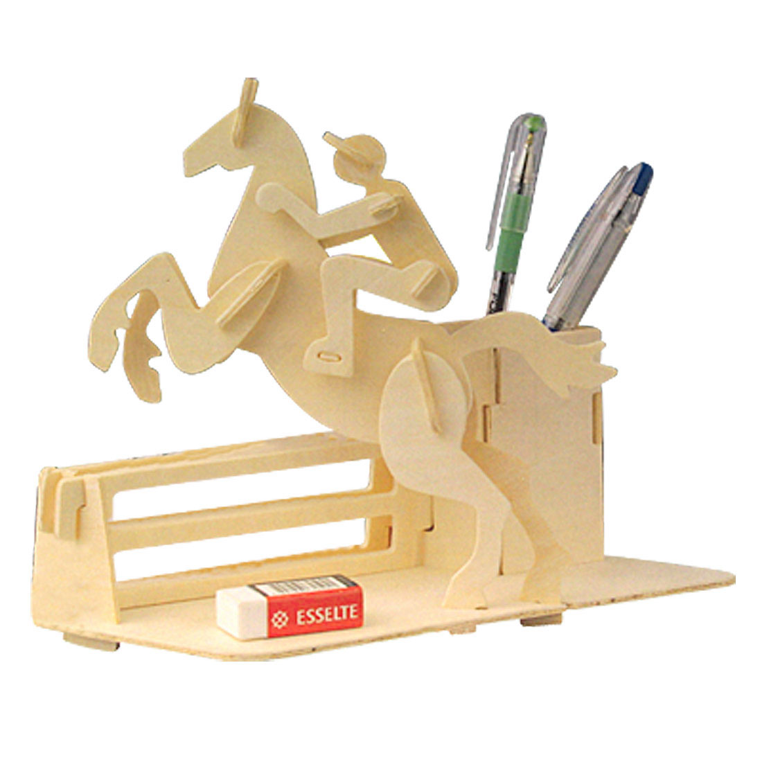 Wood Color Horse Riding Design Woodcraft Construction Puzzle Toy