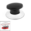 Oval Shape Kitchenware Pot Black Plastic Grip Silver Tone Lid Cover Knob
