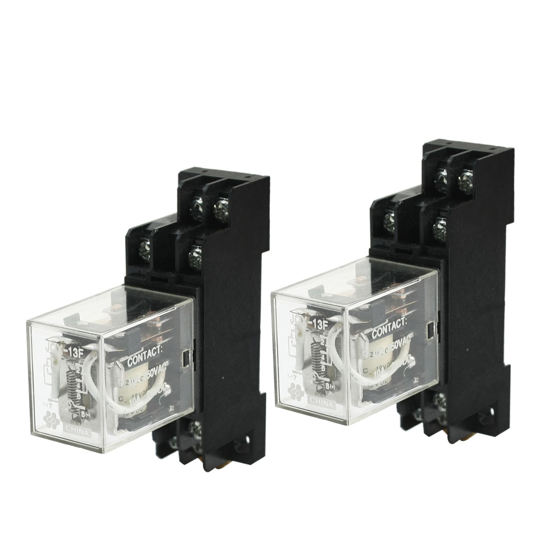 DC1DC12V Coils 2P2T JQX-13F Electromagnetic Power Relay 5A w Socket 2Pcs