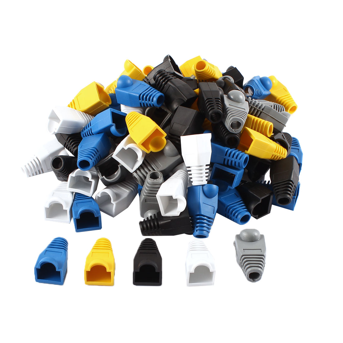100 Pcs Soft Plastic Ethernet RJ45 Cable Connector Boots Cover