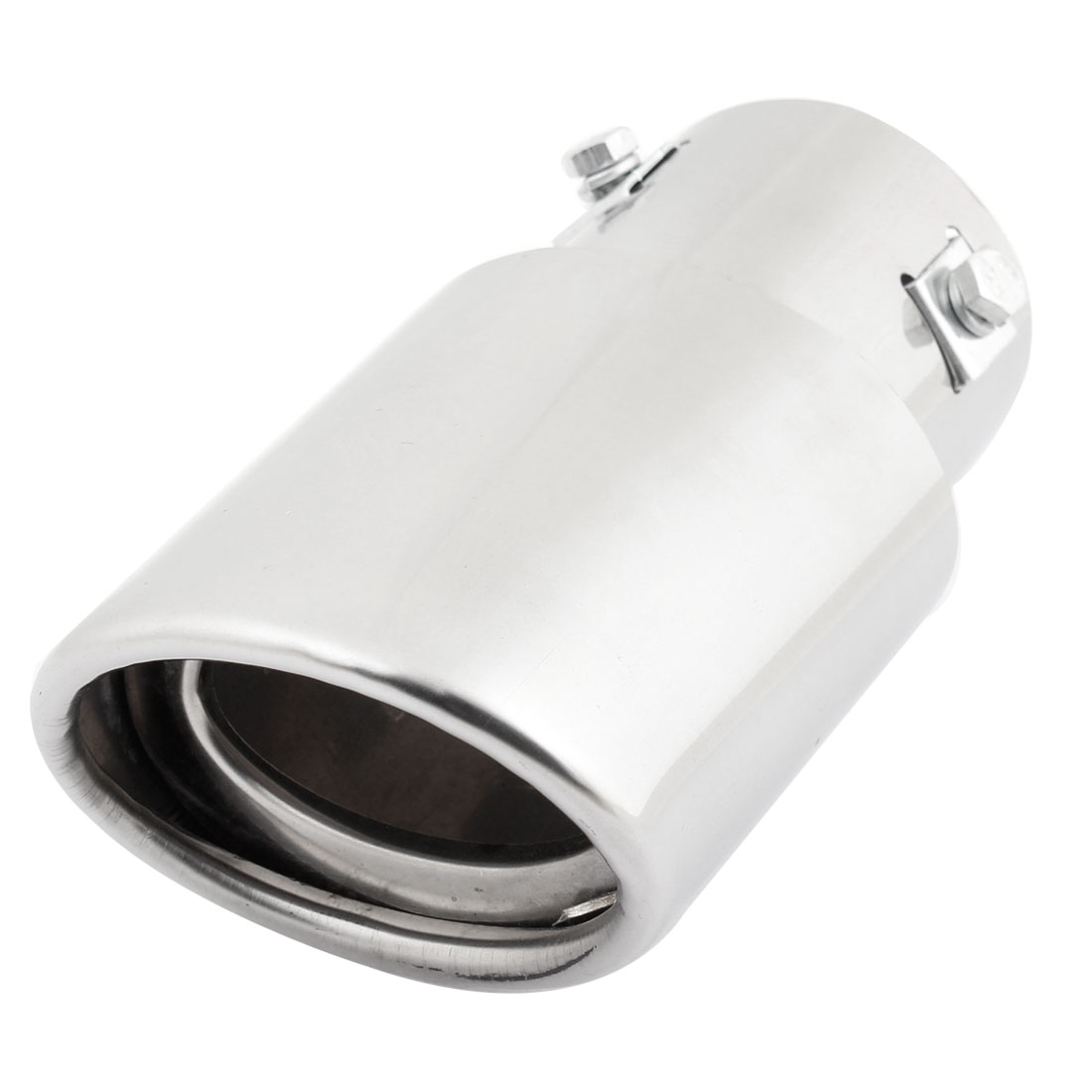 Auto Stainless Steel 60mm Inlet Dia Oval Slanted Exhaust Muffler Tip Silver Tone
