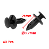 40 x Car 8.7mm Hole Dia Black Plastic Rivets Fastener Fender Bumper Push Pin Clips