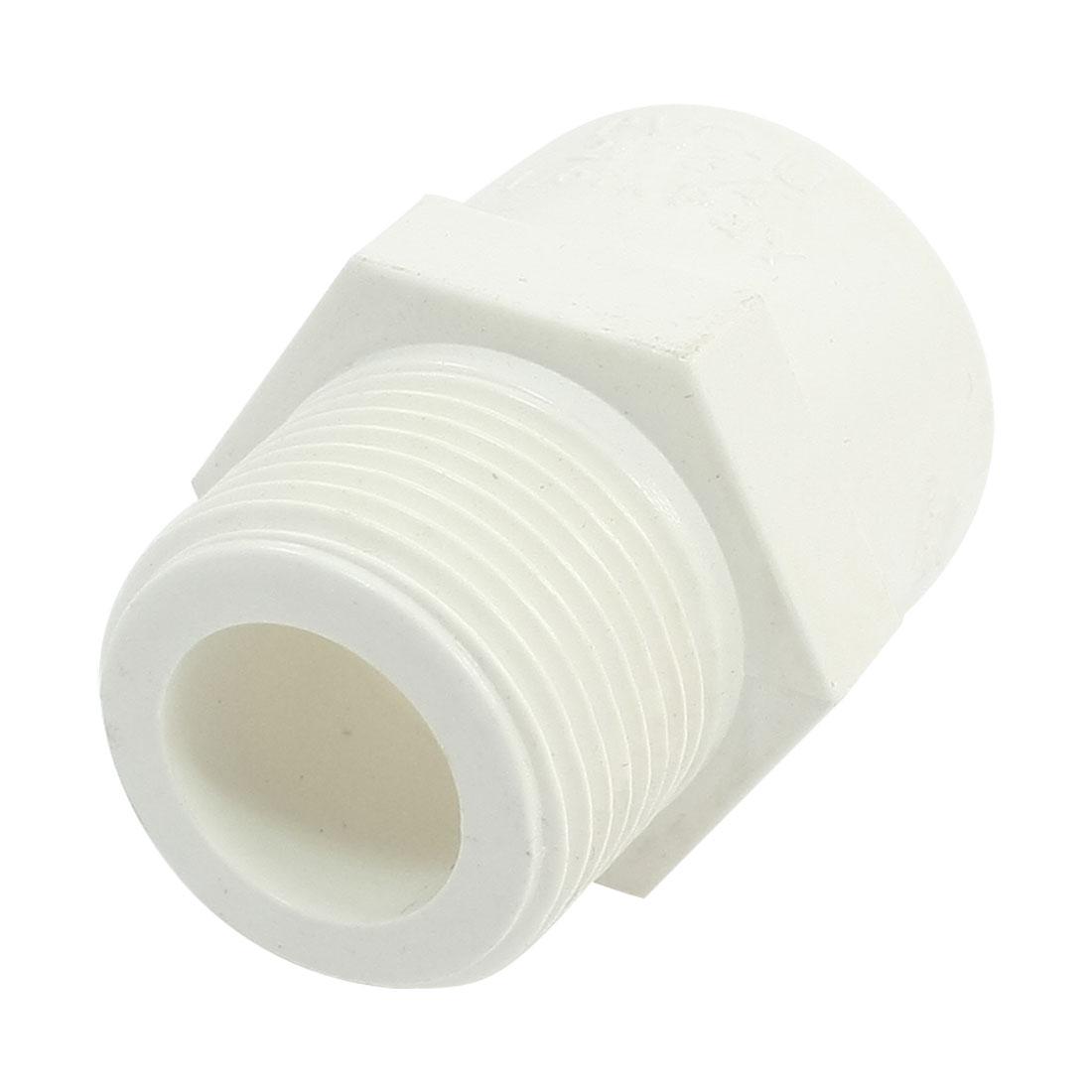"""3/4"""" PT Male Threaded 25mm Slip PVC Pipe Straight Connecter Coupler White"""