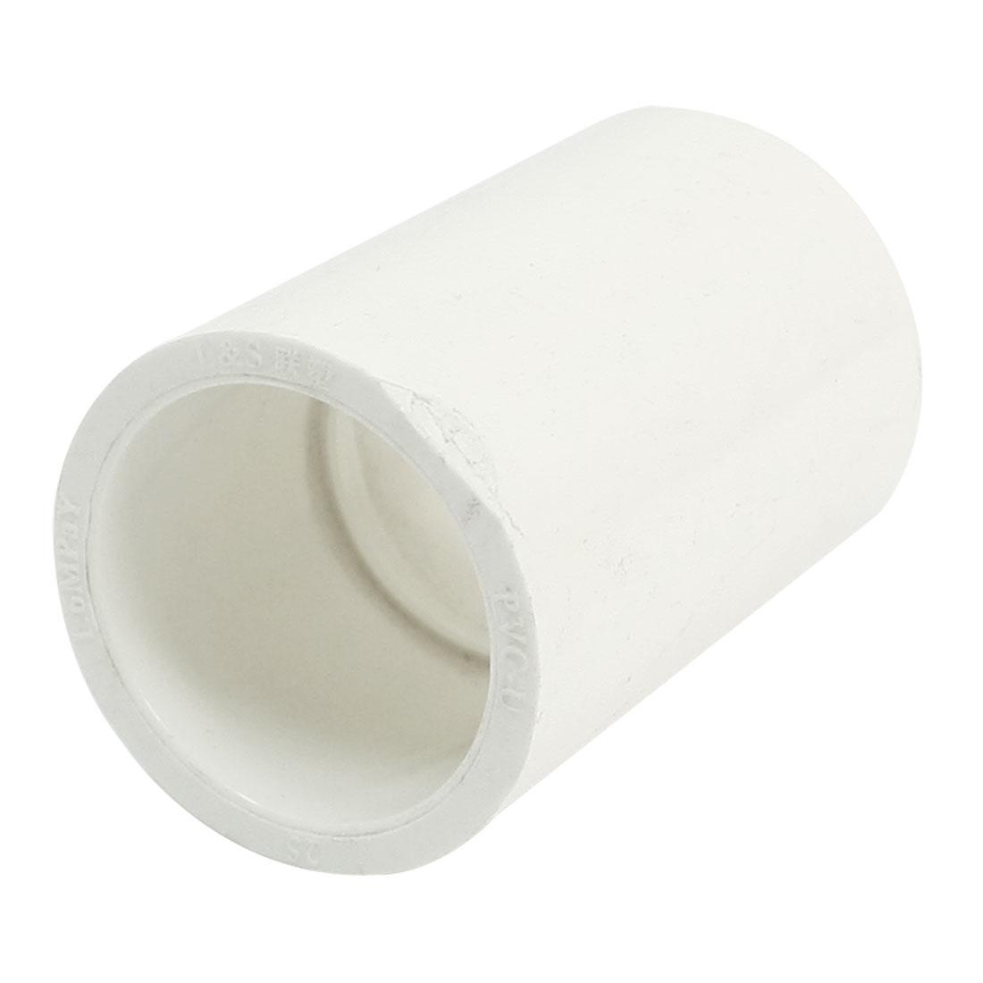 25mm Inner Diameter White PVC-U Water Pipe Straight Adapter Connector