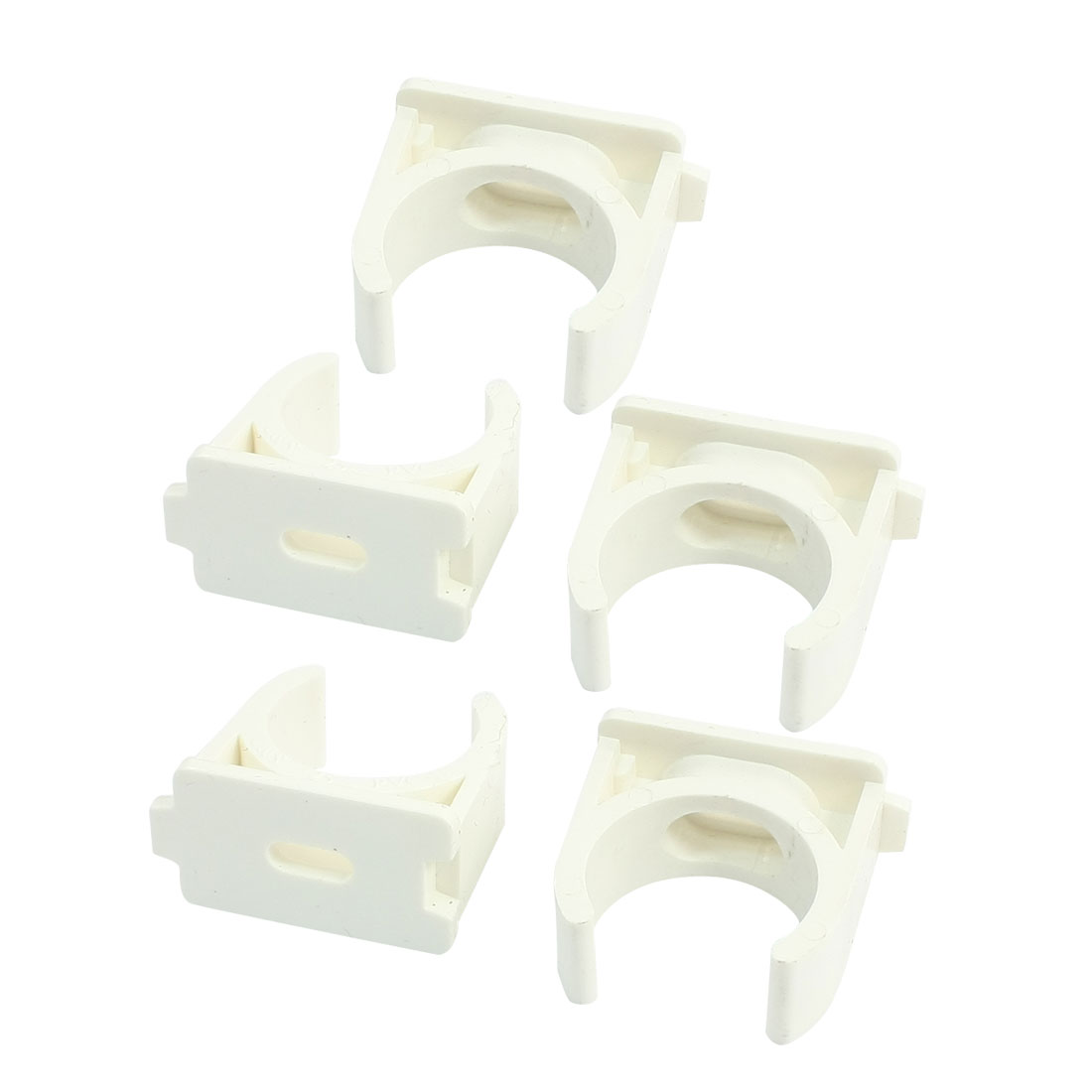 5Pcs 25mm Dia White PVC-U Push Snap in Clip Pipe Clamps for Water Supply