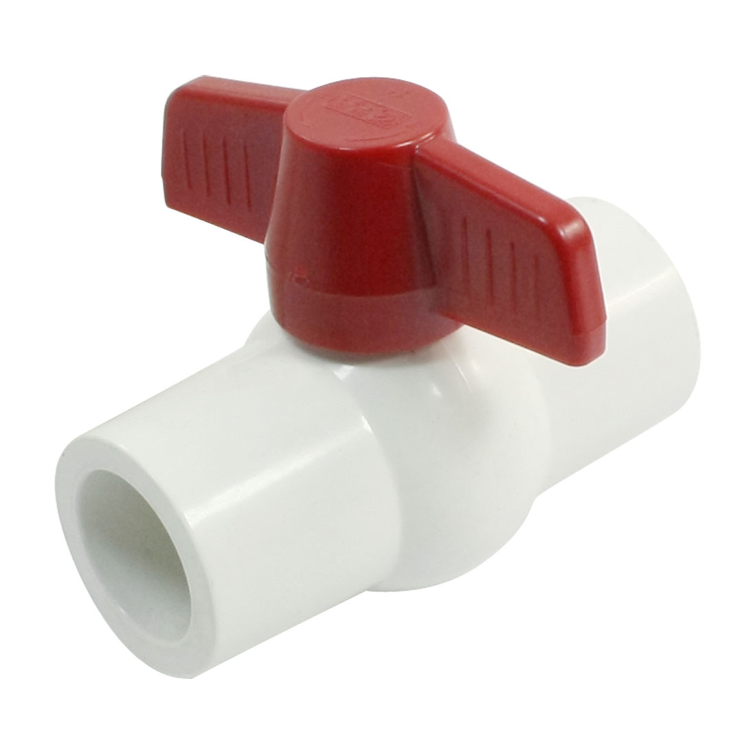 25mm x 25mm Slip Ends Full Port White Red PVC Pipe Connect Ball Valve
