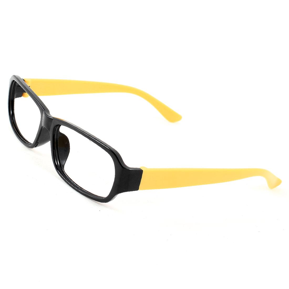 Black Yellow Plastic Full Rim Rectangular Eyeglasses Frame for Ladies