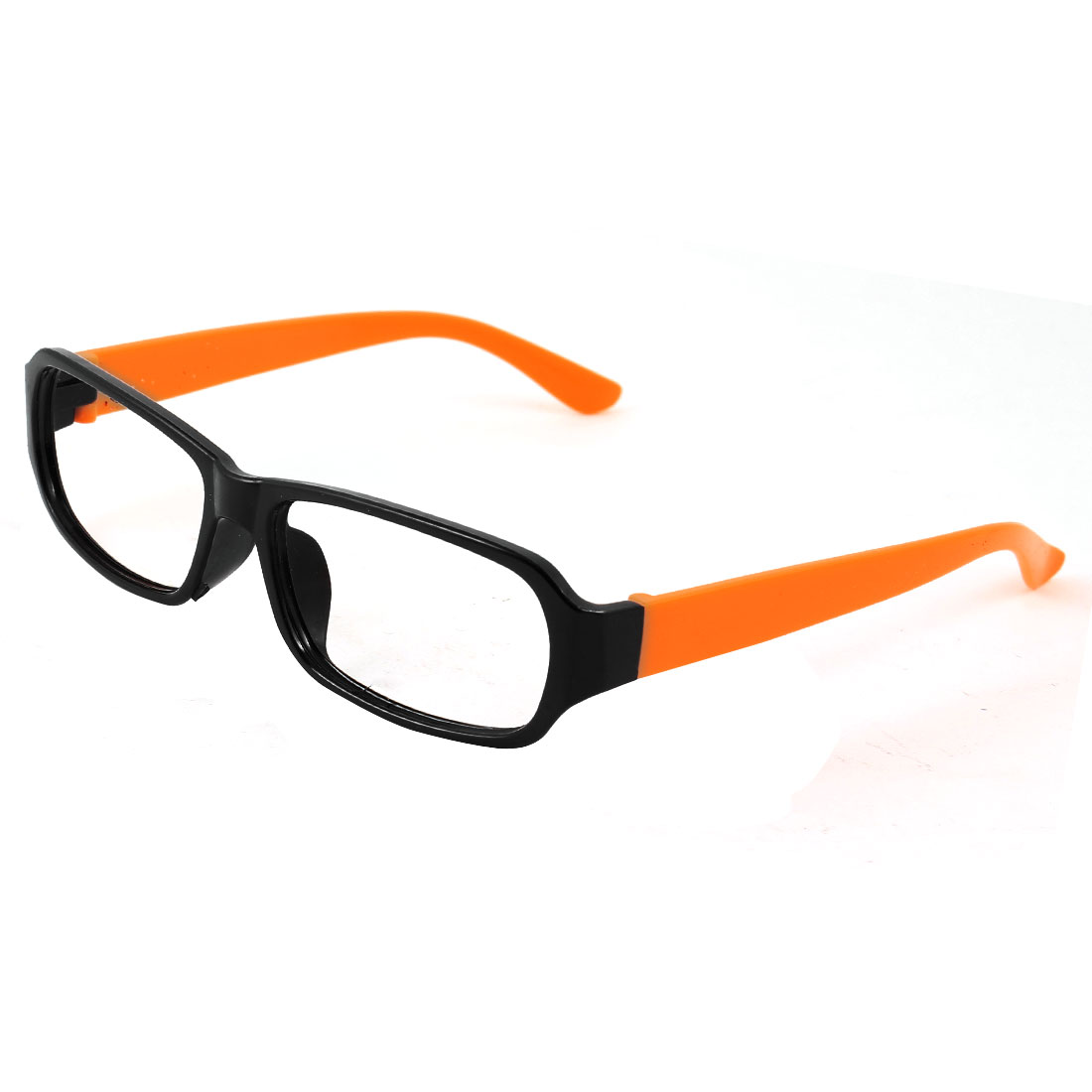 Black Orange Plastic Full Rim Rectangular Eyeglasses Frame for Ladies