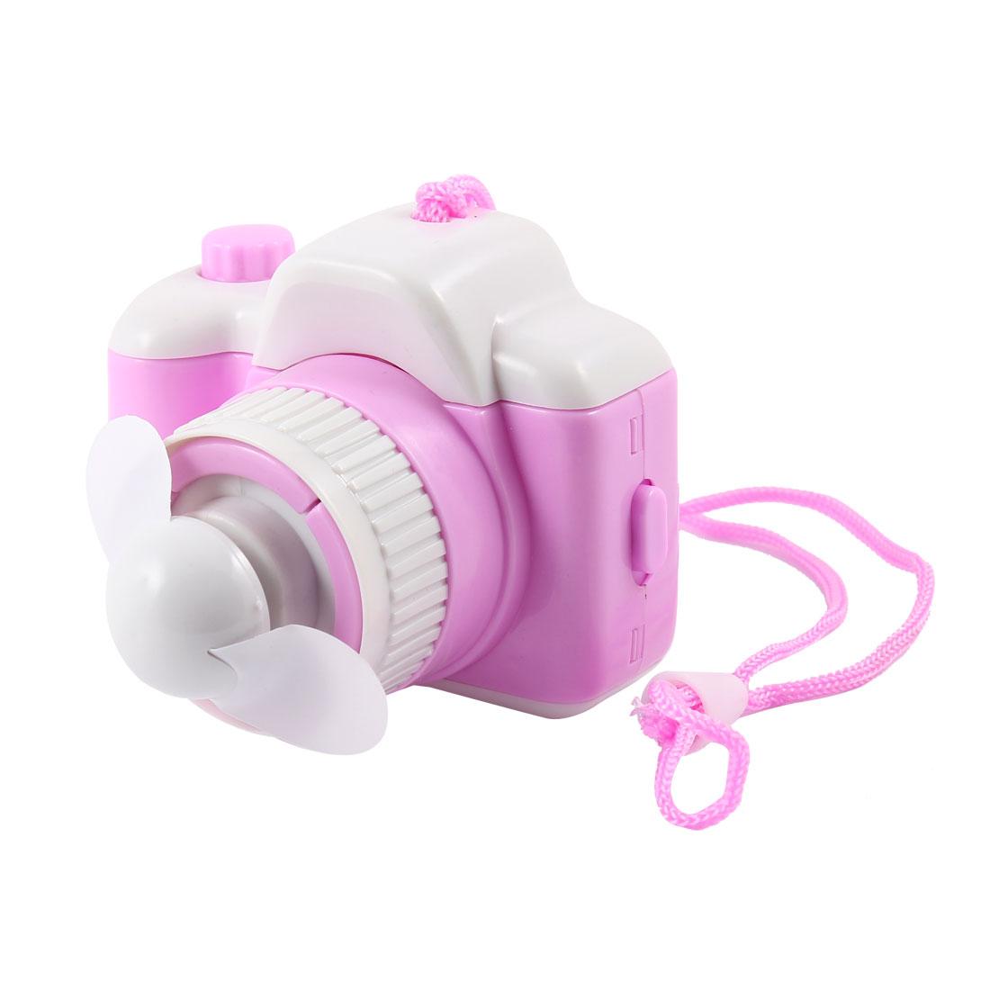 White Soft Camera Shape Battery Operated Pink Mini Fan