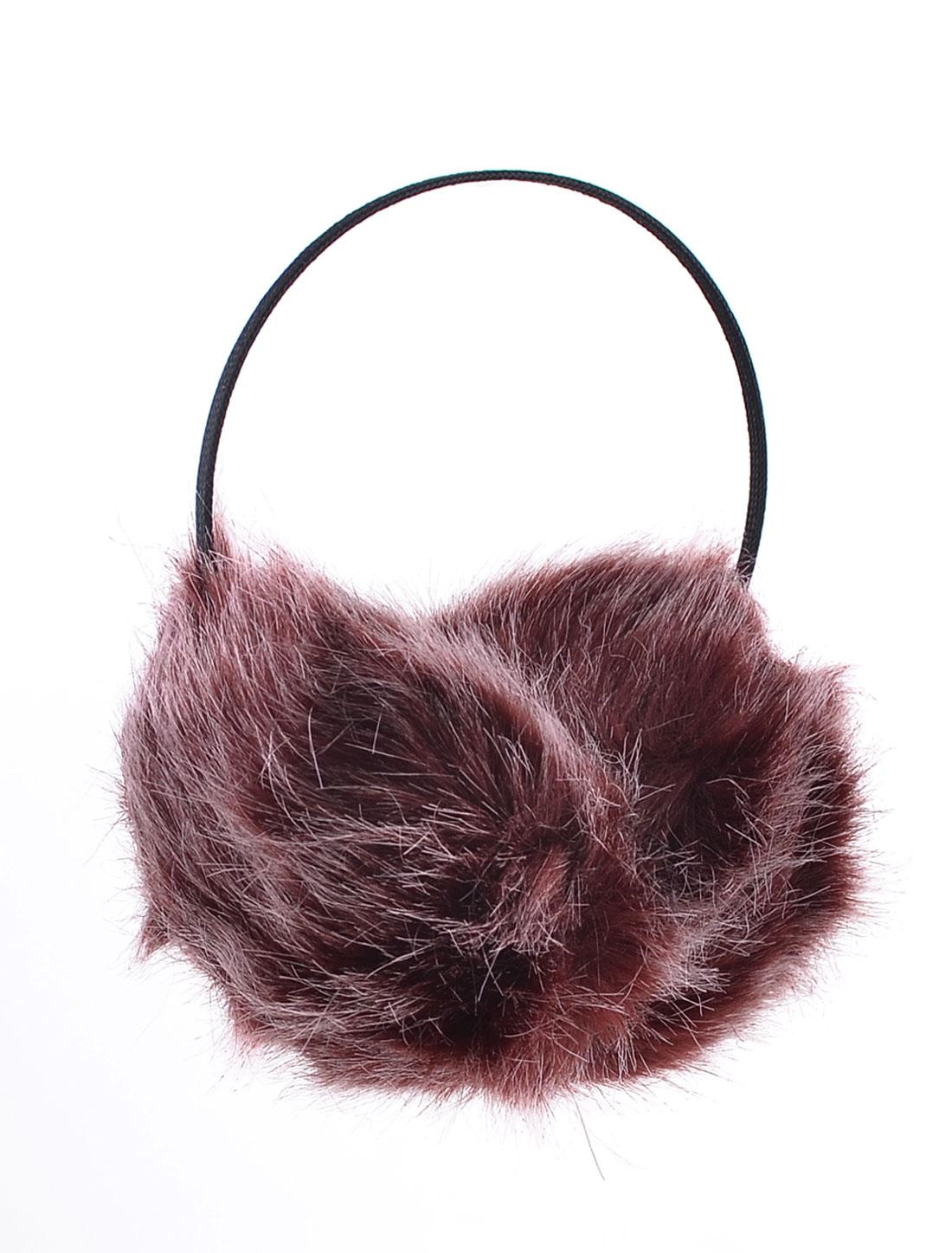 Women Winter Headband Faux Fur Ear Pad Earmuffs Black Burgundy