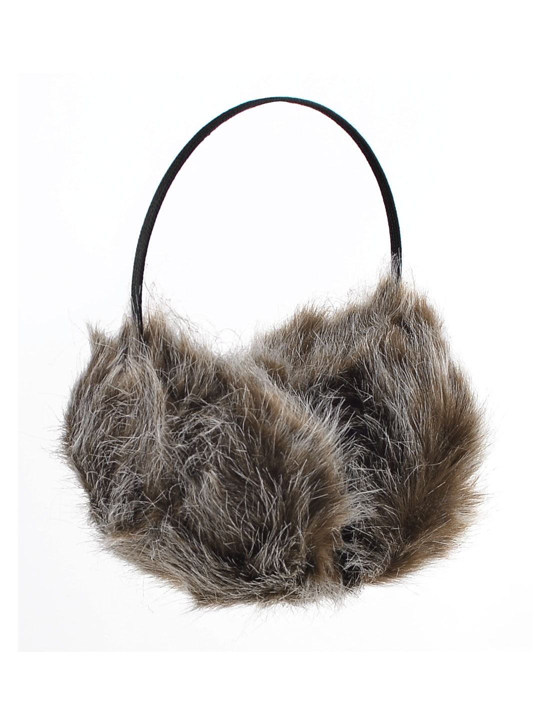 Women Winter Headband Faux Fur Ear Pad Back Earmuffs Black Dark Brown