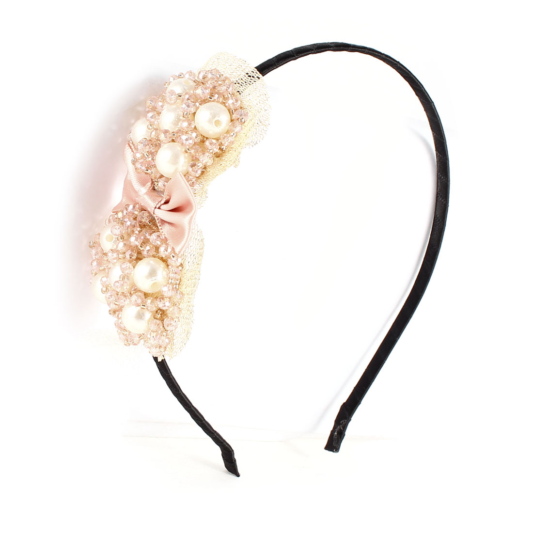 Imitation Pearls Decor Pink Bowtie Ornament Hair Hoop Band Black for Woman