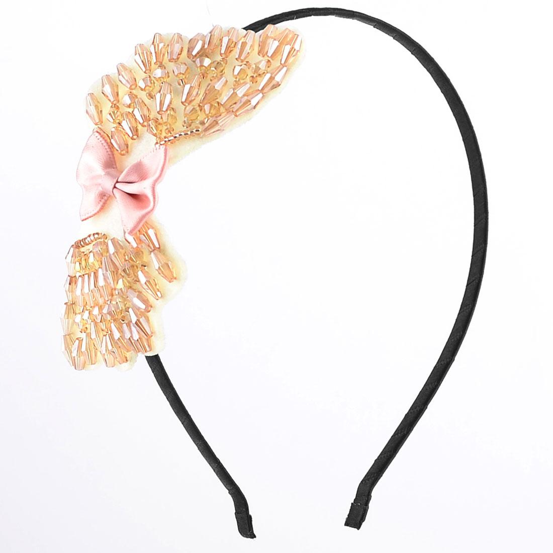 Brown Faceted Beads Decor Bowtie Black Metal Frame Hair Hoop Headband for Ladies