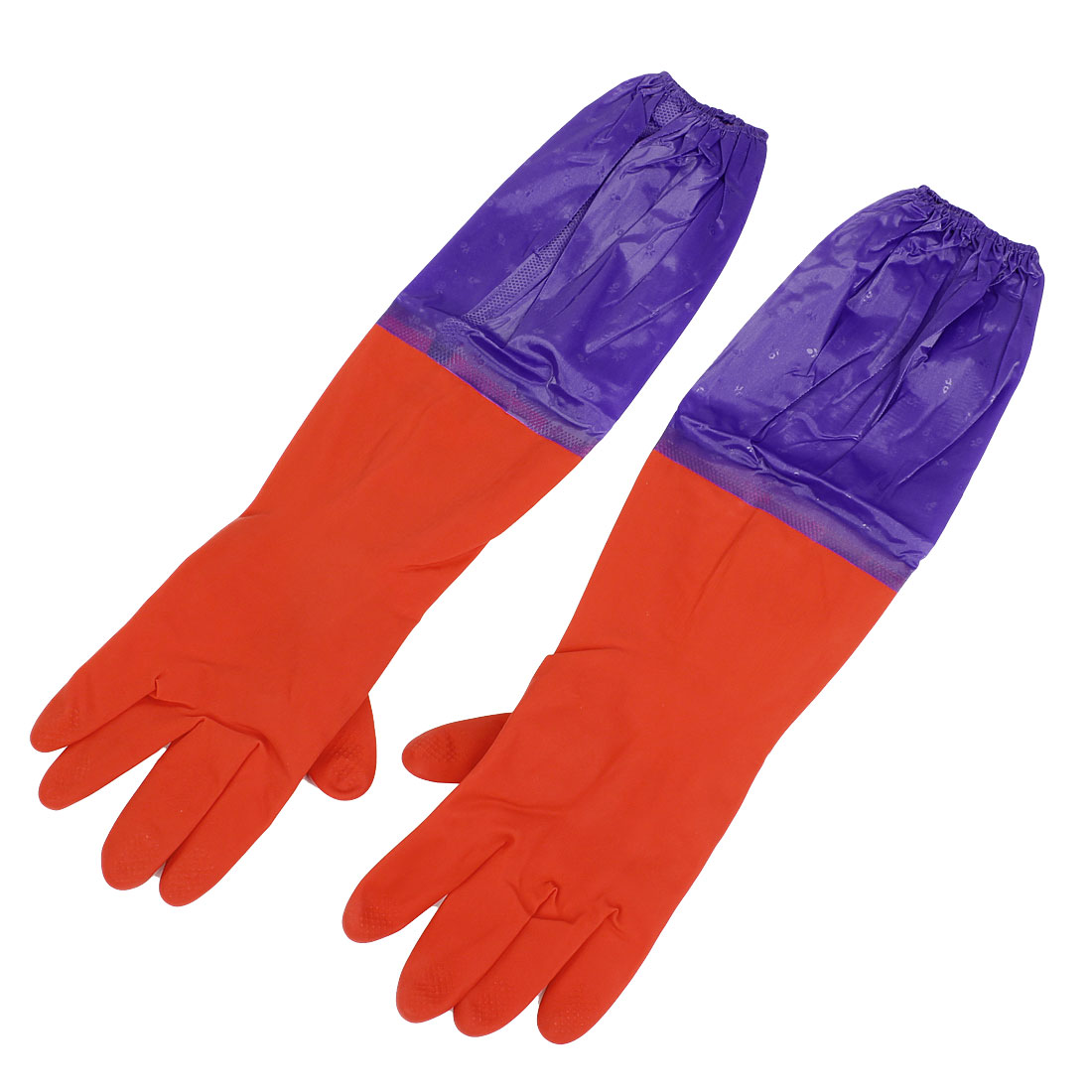Household Latex Anti Skid Working Cleaning Long Cuff Gloves Purple Red Pair