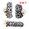 White Black Leopard Prints Car Gear Shift Knob Handbrake Mirror Cover w Bear 3pcs