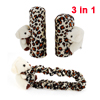 3 in 1 Browm Leopard Print Car Handbrake Shift Knob Rearciew Mirror Covers w Bear