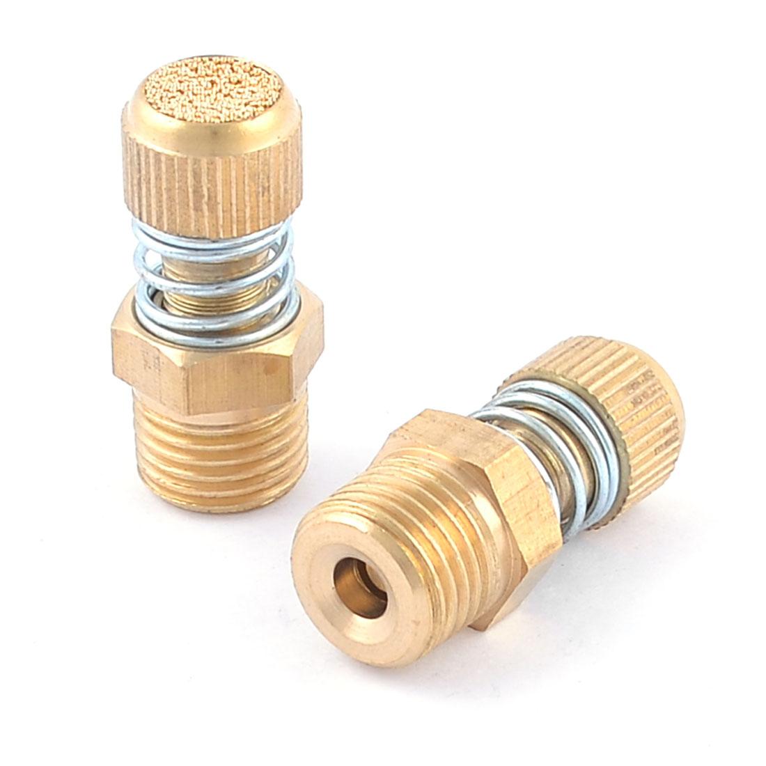"""2pcs Spring Loaded 1/4"""" PT Male Thread Brass Pneumatic Air Exhaust Muffler"""
