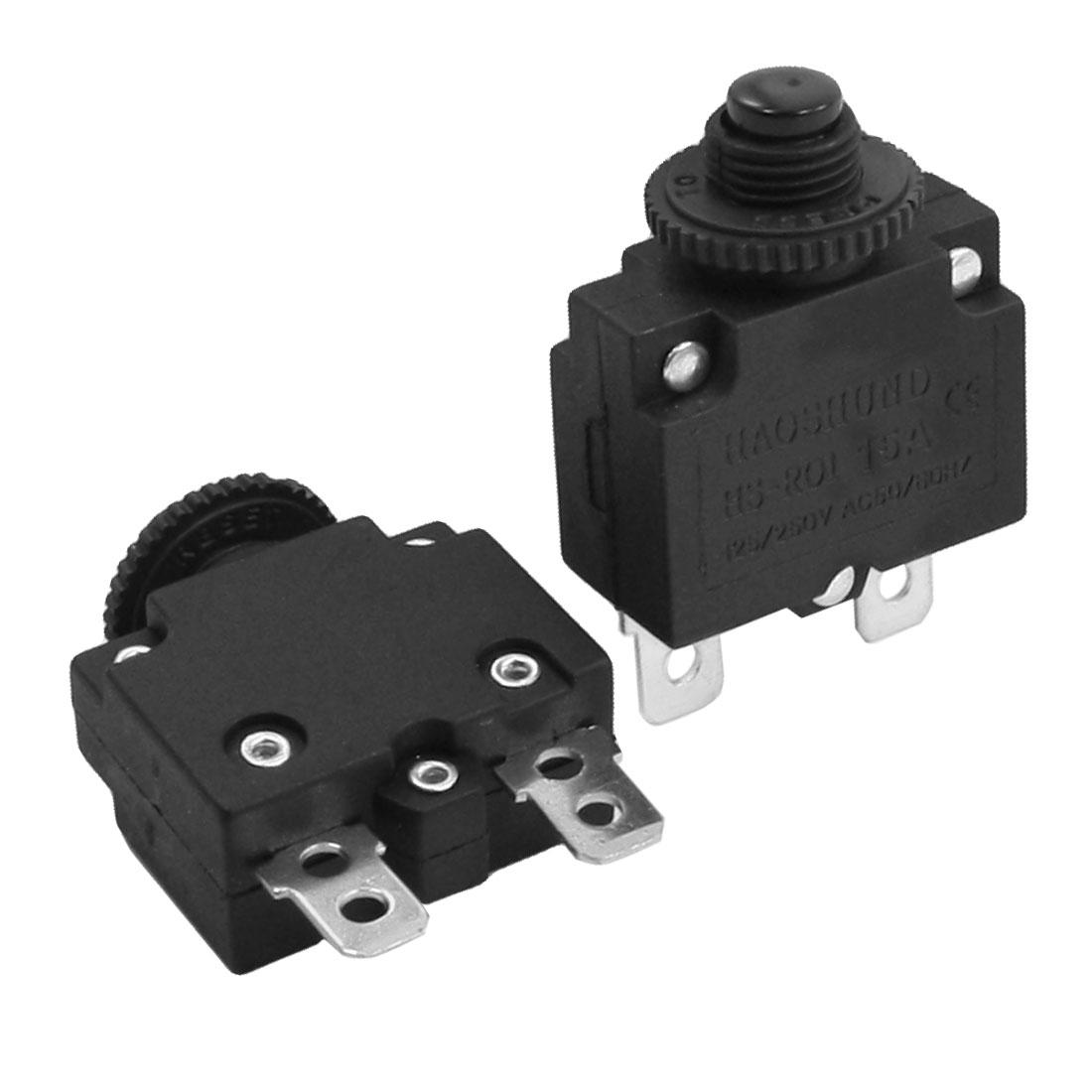 2Pcs Reset Thermal Overload Protector Circuit Breaker AC 125V 250V 15A