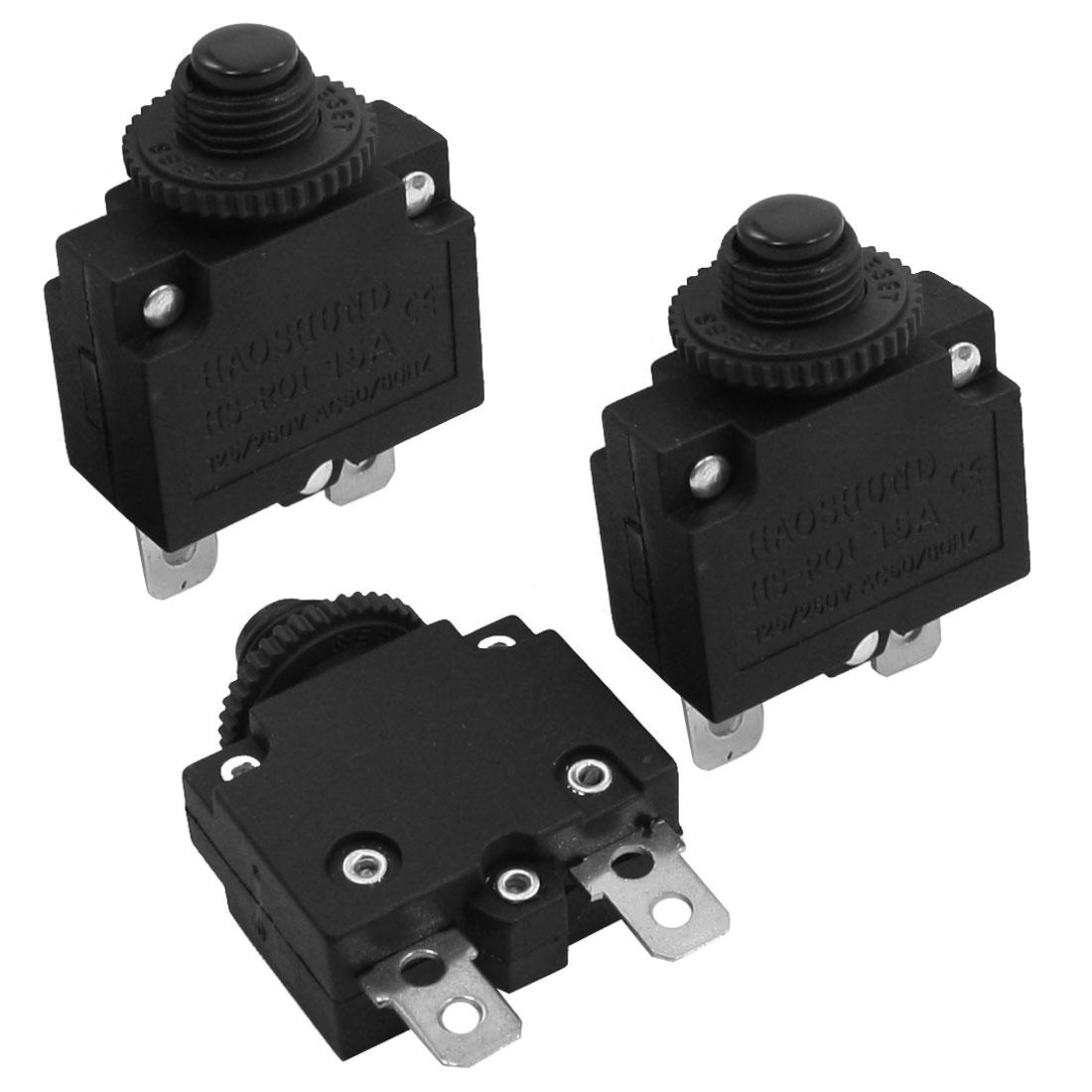 3Pcs AC 125V/250V 15A Reset Circuit Breaker Overload Protectors
