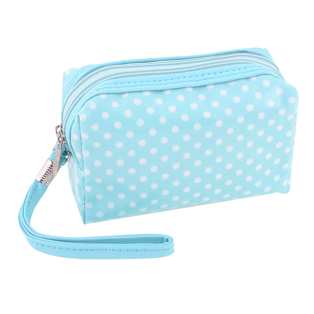 Ladies Zip Up Dots Printed Pockets Cosmetic Bag Coin Purse Blue White