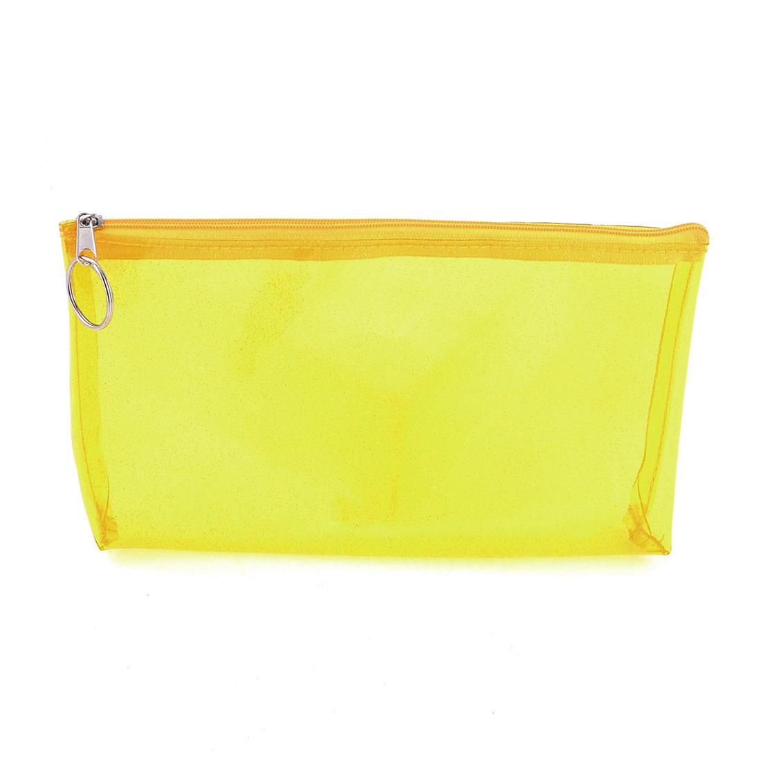 Lady Glitter Yellow Clear Plastic Zipper Closure Makeup Cosmetic Bag Case