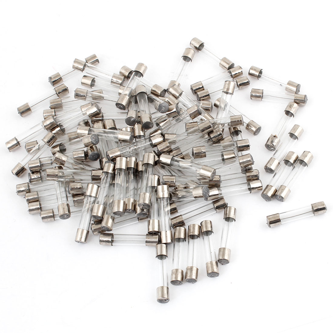 100 Pcs 20A Glass Tube Silver Tone Clear AGU Fuse for Motorcycle
