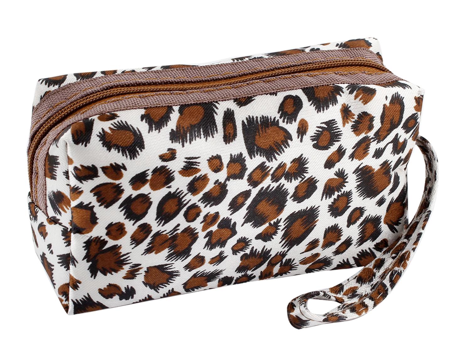 Brown White Leopard Pattern Mini Purse Money Card Keys Holder Wallet for Women
