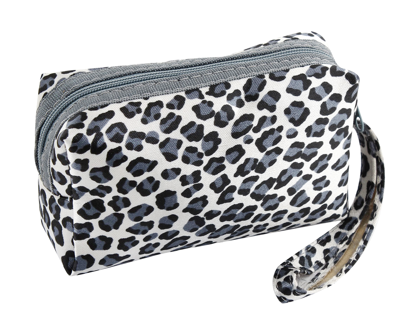 Portable Strap Leopard Printed Zippered Mini Purse Wallet Black White for Ladies