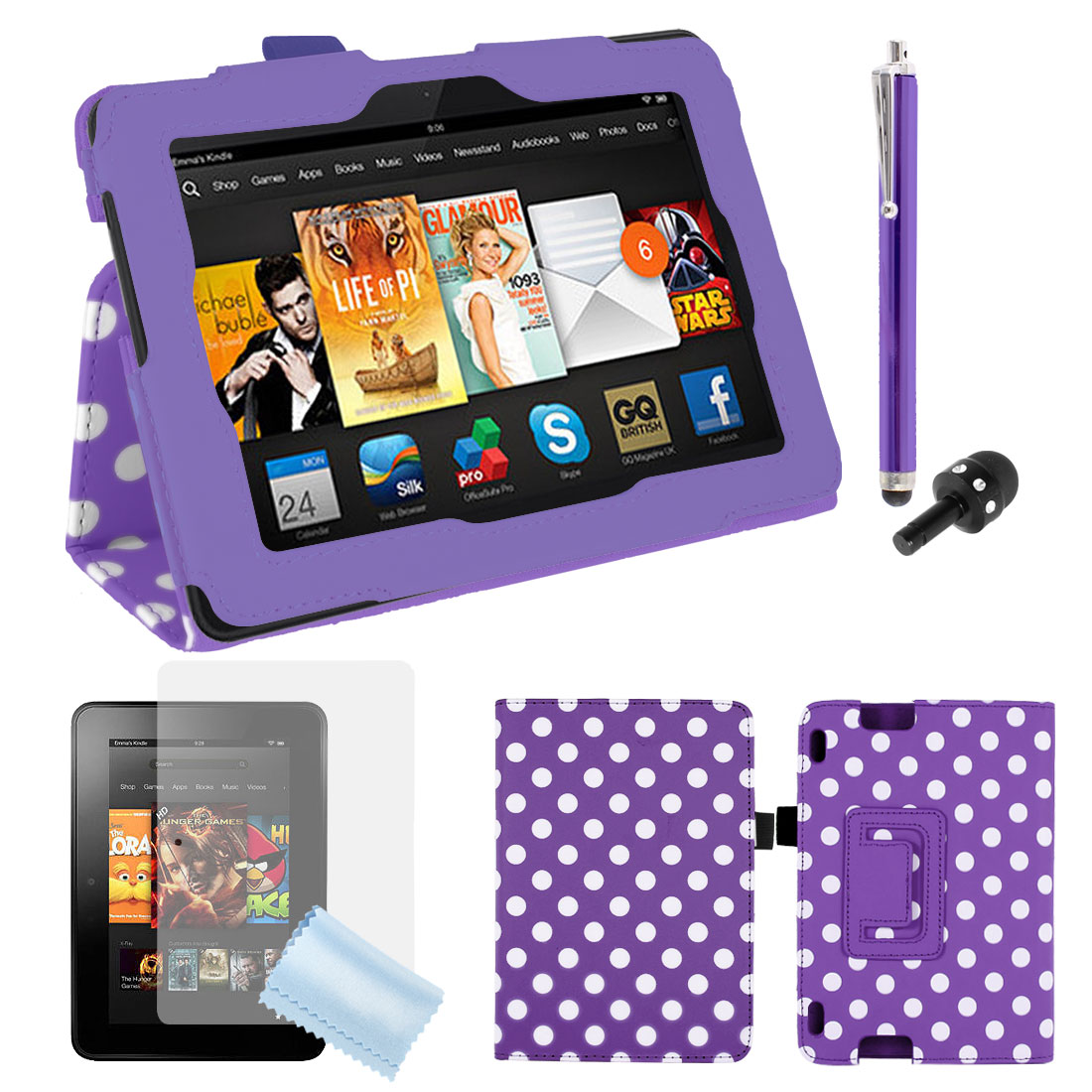 White Dots PU Leather Stand Case + Film + Stylus Purple for Kindle Fire HDX 7""