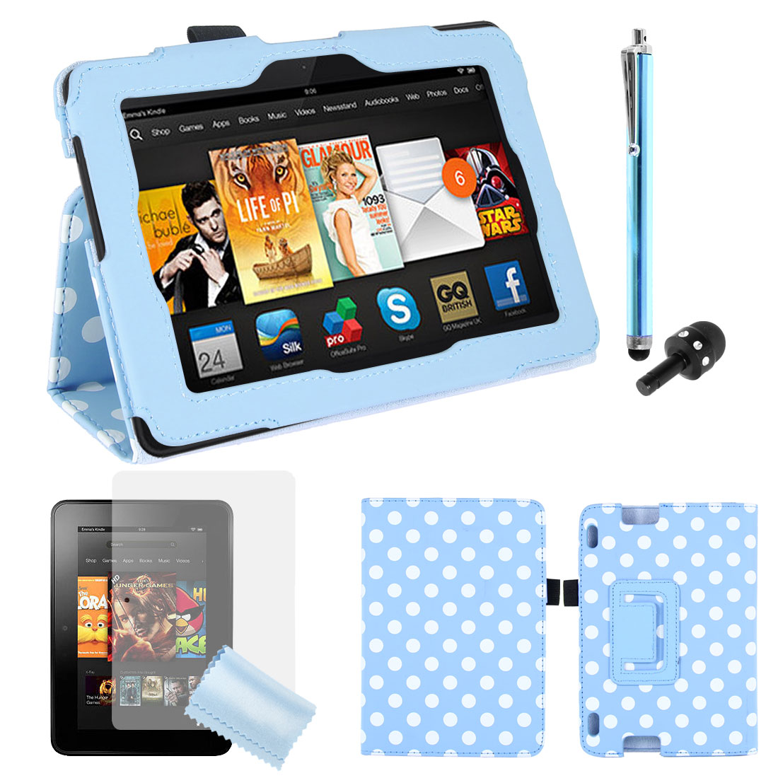 Dot PU Leather Stand Case Cover + Film + Stylus for Kindle Fire HDX 7""