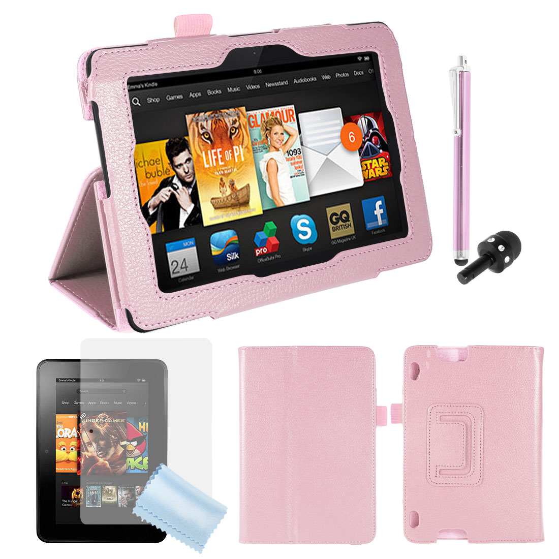 PU Leather Stand Case Cover Pink + Screen Guard + Stylus for Kindle Fire HDX 7""