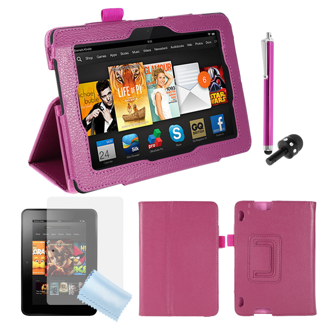 PU Leather Stand Case Cover Fuchsia + Screen Guard + Pen for Kindle Fire HDX 7""