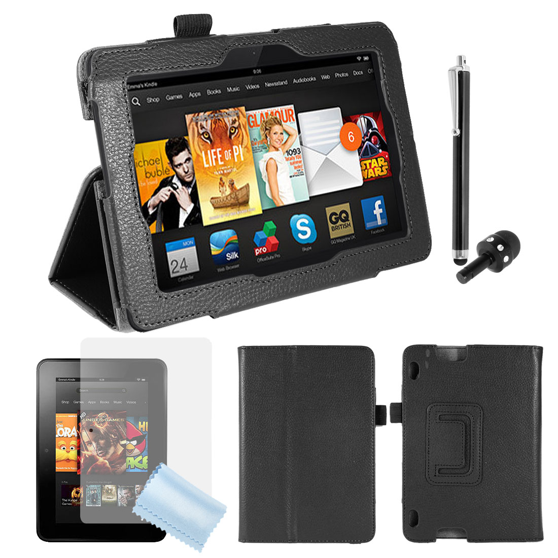 PU Leather Stand Case Cover Black + Screen Guard + Stylus for Kindle Fire HDX 7""