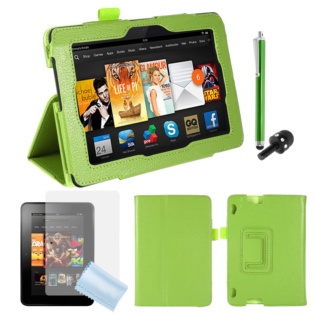 """PU Leather Stand Case Cover Green + Screen Guard + Stylus for Kindle Fire HDX 7"""""""