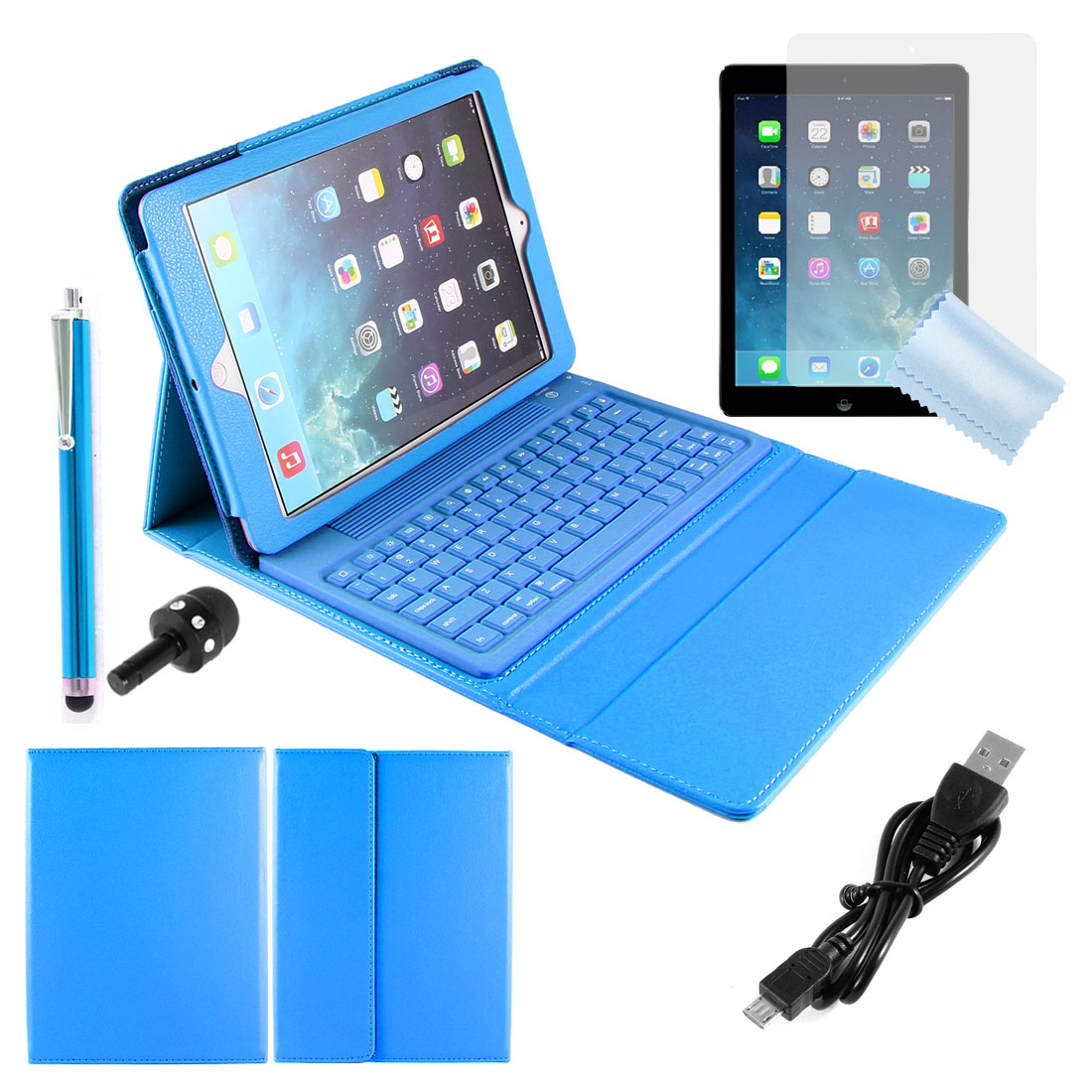 Blue bluetooth Keyboard Stand Case + 3.5mm Ear Cap + Stylus Pen for iPad Air 5