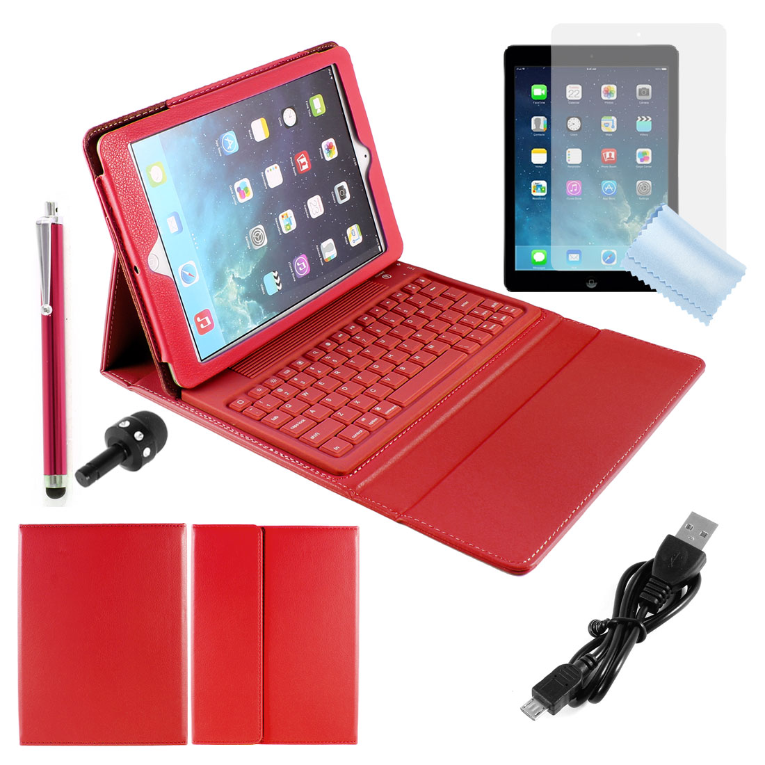 Red bluetooth Stand Keyboard Case + Protective Film + Stylus Pen for iPad Air 5