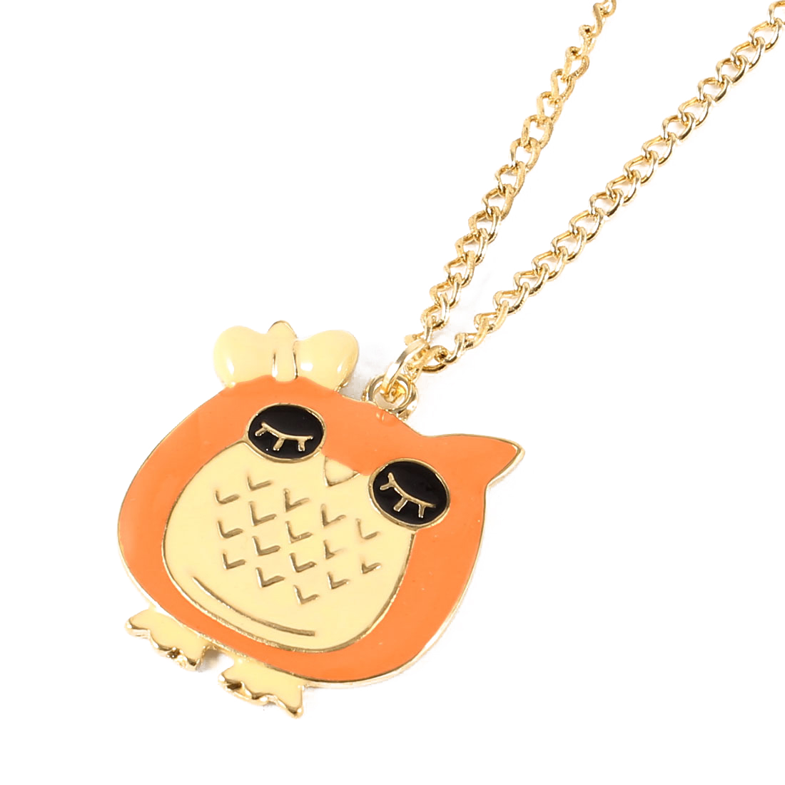 Gold Tone Curb Chain Orange Owl Design Pendant Sweater Necklace for Girls