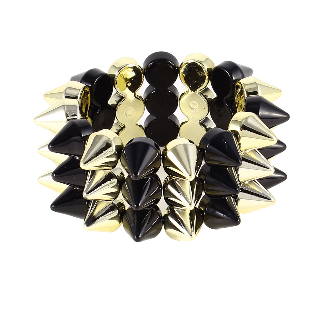 Black Gold Tone Punk Style Plastic Rivet Cone Studs Elastic Wrist Bracelet